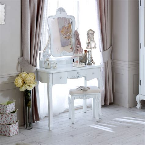 white table ls bedroom white wooden dressing table set stool mirror chic