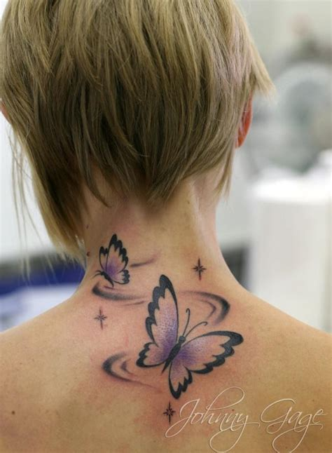 butterfly tattoo on neck girl butterflies tattoo on neck back for girls tattooshunt com