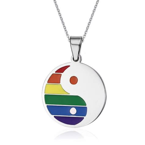 Stainless Steel Pendant Necklace stainless steel rainbow yin yang pendant necklace styles