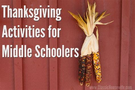 thanksgiving activities for middle schoolers middle