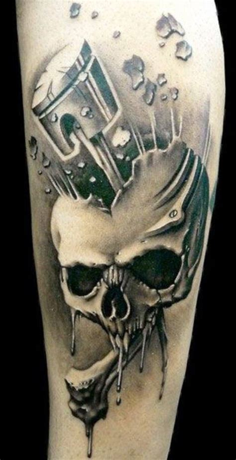 skull and piston tattoos die besten 17 ideen zu kolben tattoo auf pinterest motor