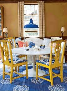 Colorful Lounge Chairs Design Ideas Beautiful Classic Dining Room With Rustic Yellow Wood Chairs White Table And Blue Rug