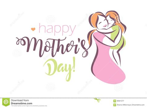 s day card template in happy mothers day greeting card template stock vector