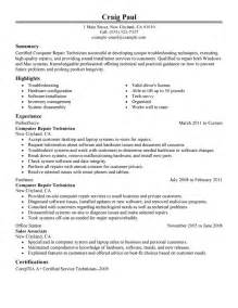 Computer Technician Resume Template by 9 Amazing Computers Technology Resume Exles Livecareer