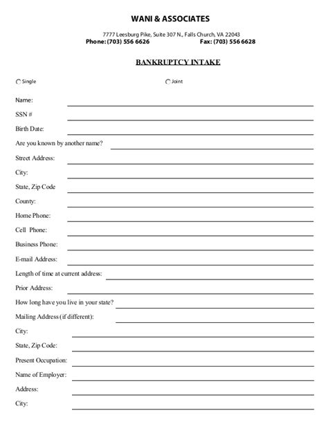 Wani & associates, p.c. bankruptcy intake form