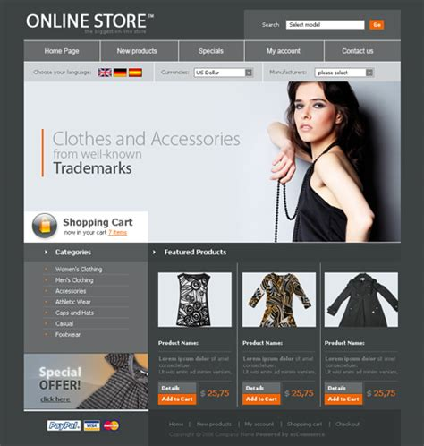 Free Clothing Web Template Psd Template Apparel Website Templates