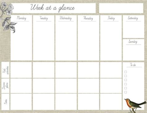 printable planner things oh the lovely things free printable quot week at a glance