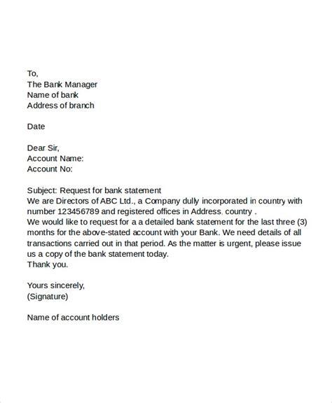 request letter banks premium