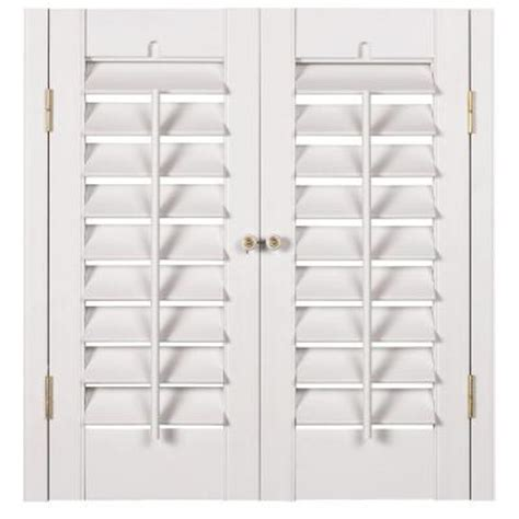 interior plantation shutters home depot homebasics plantation faux wood white interior shutter price varies by size qspa3536 the