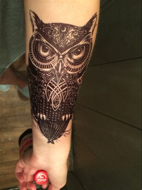 celtic owl and moon by tattoo design on deviantart great and classy celtic owl tattoo golfian com