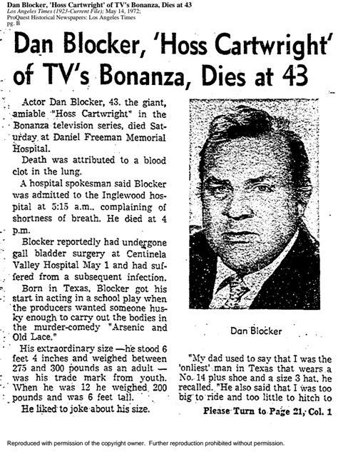 Dan Blocker, 'Hoss Cartwright' of TV's Bonanza, Dies at 43