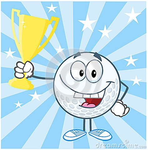 golf ball cartoon character holding prize trophy  stock photo image