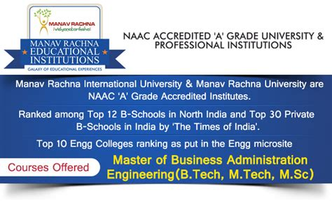 Manav Rachna Mba by Manav Rachna Educational Institutions Engineering And Mba