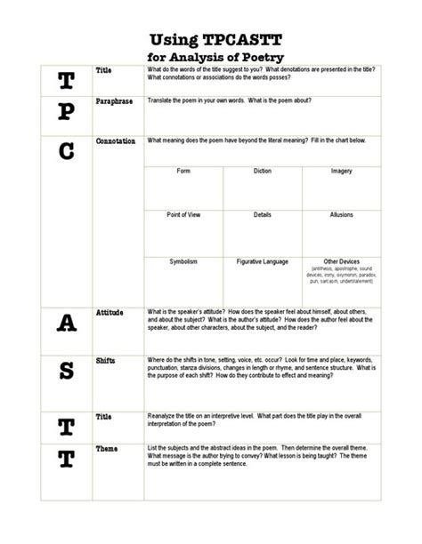 Poetry Analysis Worksheet Answers by Tpcastt Worksheet Lesupercoin Printables Worksheets