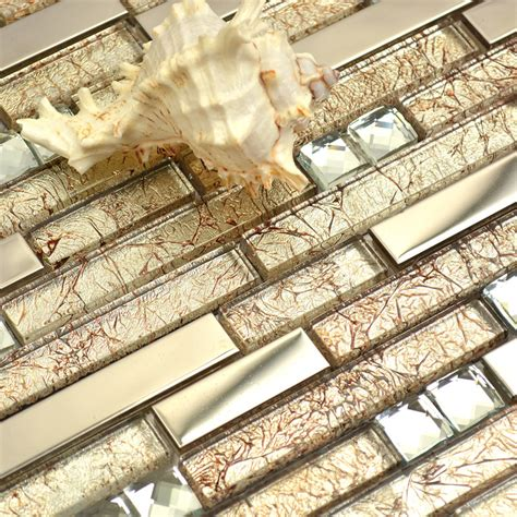 Discount Kitchen Backsplash Tile by Short And Long Strip Glass Mixed Metal Golden Amp Diamond