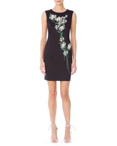 Givenchy Princess Bn 1702 carolina herrera sleeveless print sheath dress black green