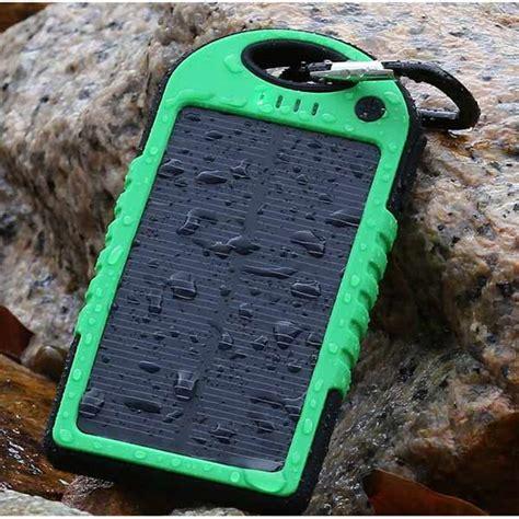 Power Bank Solar Cell solar waterproof power bank 5000mah green black jakartanotebook