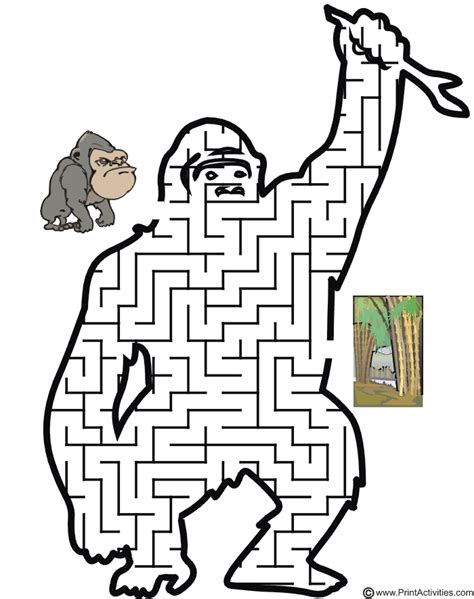 printable monkey maze gorilla maze guide the gorilla to the jungle
