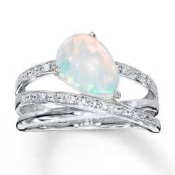 Opel Ring Lab Created Opal Ring With Diamonds Sterling Silver