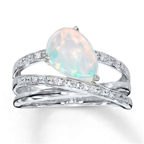 lab created opal ring with diamonds sterling silver