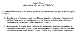 modeling contract template sign on the dotted acting and modeling terms