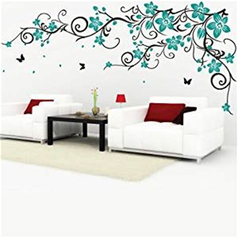 teal wall stickers decomatters butterfly vine flower wall stickers black vines and teal flowers small co