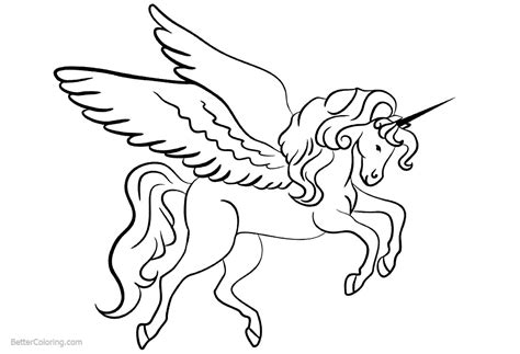 Coloring Page Unicorn With Wings by Unicorn Coloring Pages With Wings Free Printable