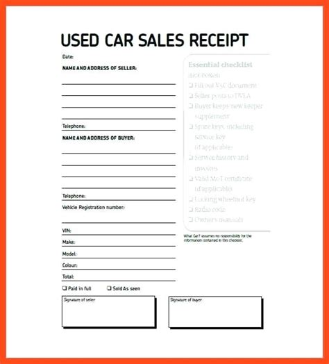 car sale receipt template nsw sale receipt for car used sale used car receipt