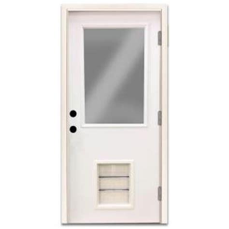 Exterior Door With Pet Door Steves Sons 36 In X 80 In Premium Half Lite Primed White Steel Prehung Front Door With Large