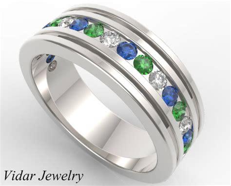 multi colored sapphire wedding band for mensunique mens