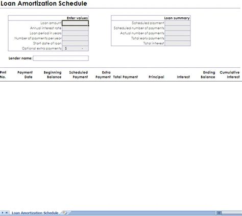 excel loan amortization schedule download printable