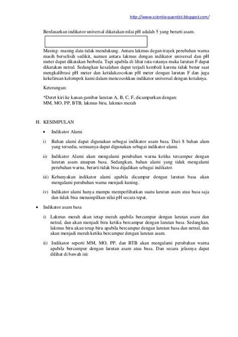 Laporan Praktikum Membuat Indikator Asam Basa | laporan praktikum kimia indikator asam basa