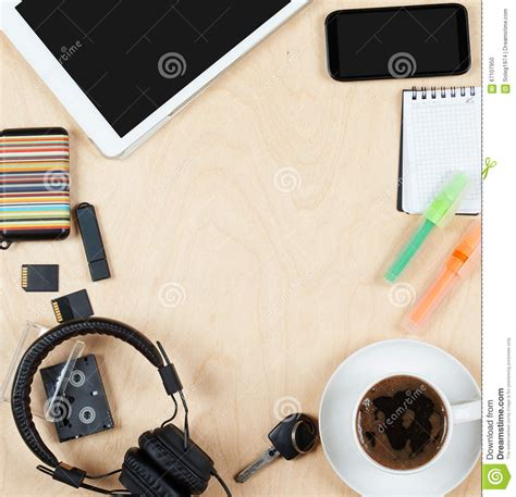 Flat Layout Photography | flat lay office tools and supplies tablet computer cards