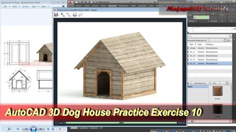 autocad 2007 3d tutorial house autocad 3d modeling dog house tutorial exercise 10