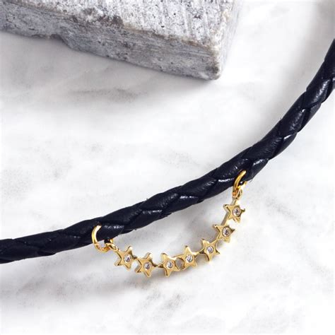 Esther Gold Esther Gold Cubic Black Leather Choker By Aluna Mae