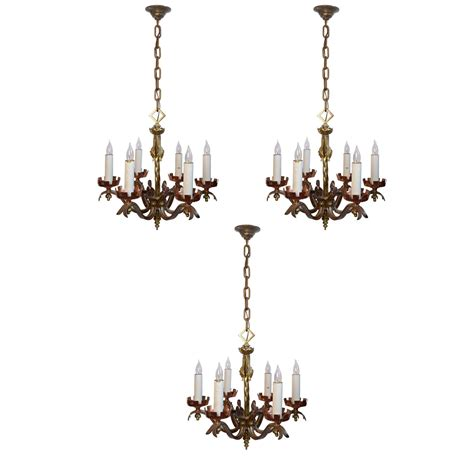 brass candle chandelier six candle copper brass and iron revival
