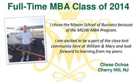 Gmu Mba Part Time by Why We Chose W M