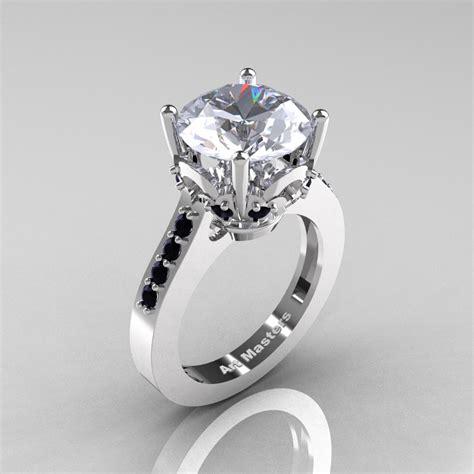 classic 14k white gold 3 0 carat white sapphire black