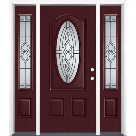 Shop Masonite Calista Decorative Glass Left Hand Inswing Glass Entry Doors With Sidelights