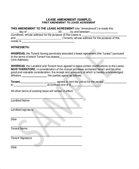 amendment agreement template lease amendment form 10 free documents in pdf doc