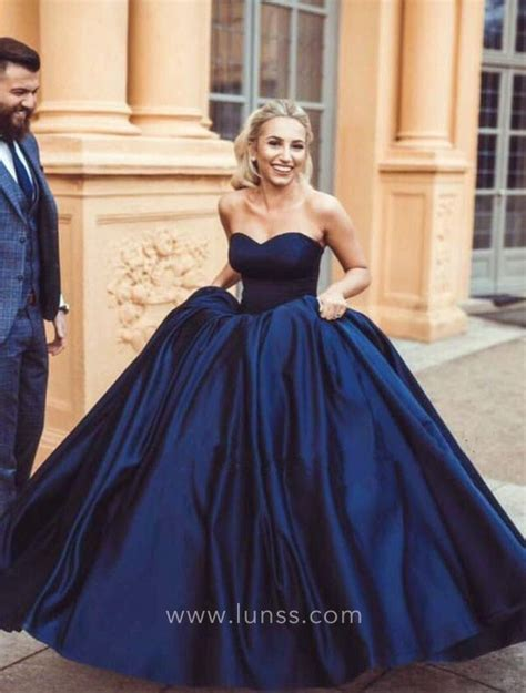 navy blue ball gown prom dress simple navy blue satin strapless sweetheart ball gown prom
