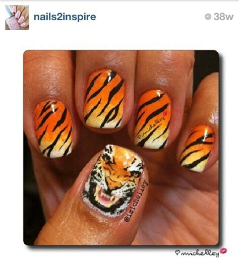 tiger pattern nail art tiger nail art nail design pinterest nail art the