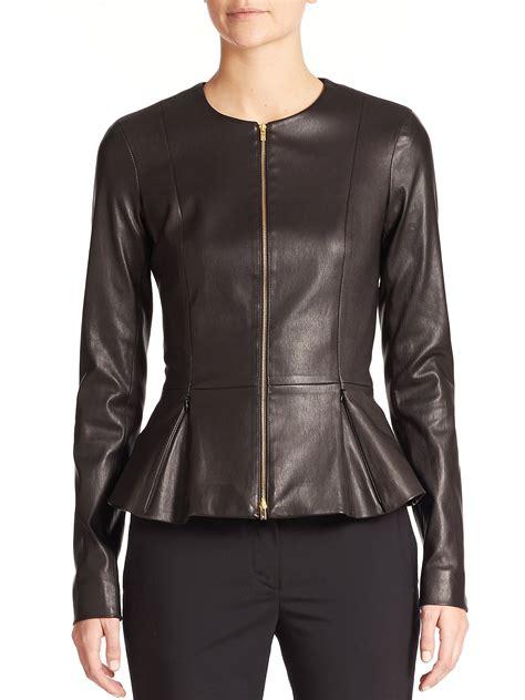 Peplum Jacket the row anasta leather peplum jacket in black lyst