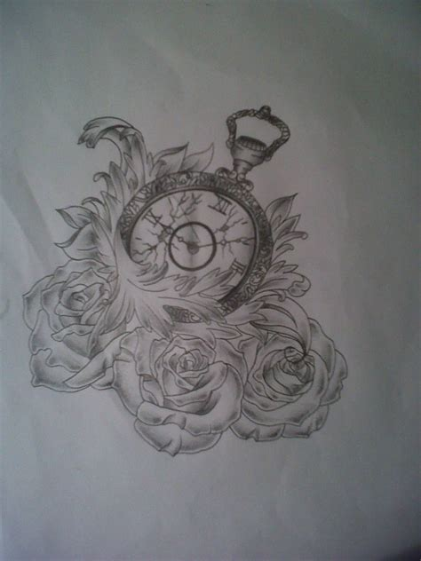 rose and clock tattoo designs outline flowers and clock on left shoulder by