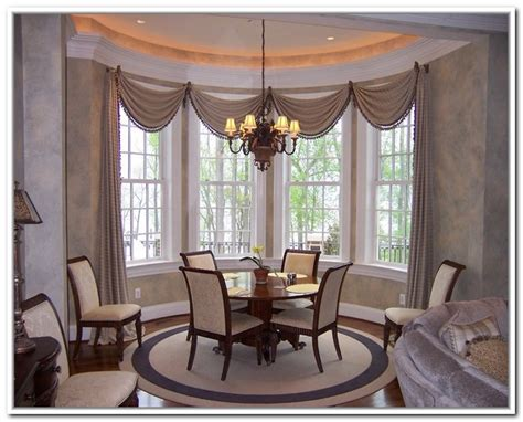 Bay window dining room curtains modern interior design ideas