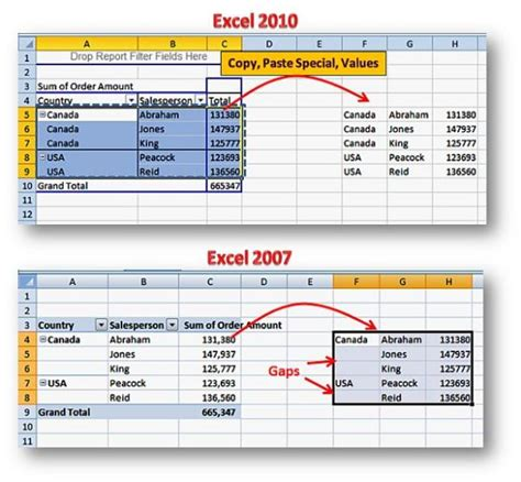 paste from excel pivot table with excluding blank cells