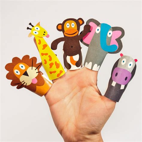 How To Make Paper Finger Puppets - jungle animals paper finger puppets printable pdf