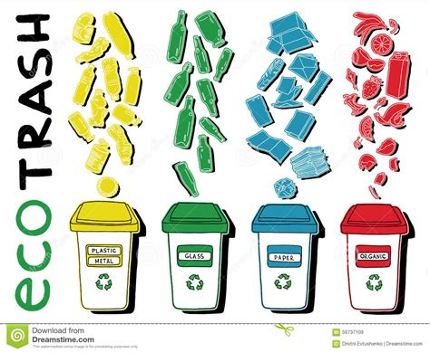 separazione dei rifiuti di eco illustrazione di stock