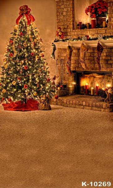golden fireplace christmas tree christmas background