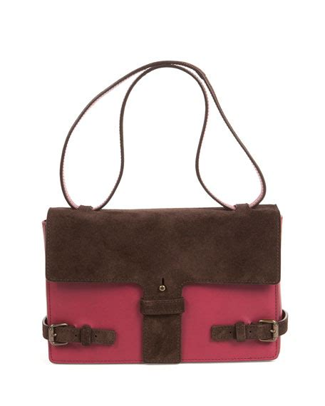 Two Tone Shoulder Maroon tomas maier two tone suede leather satchel bag maroon